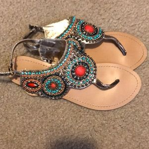 Multi color beaded sandals